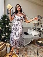 Платье женское модное романтичное сетка в горошек миди Smdi3954, фото 1