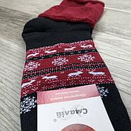 Носки женские махровые х/б без резинки с отворотом Смалий, рисунок 04 чёрно-бордовые, фото 2