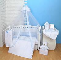 """Детский постельный комплект Veres """"Sweet Bear"""" 7 единиц Голубой"""
