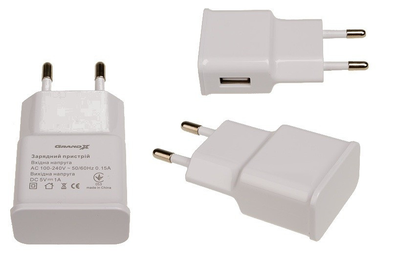 Сетевое зарядное устройство Grand-X (1xUSB 1A) White (CH-765W)