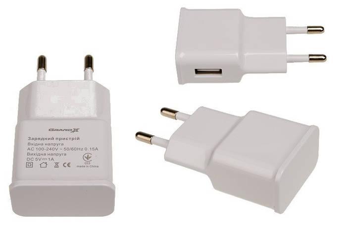 Сетевое зарядное устройство Grand-X (1xUSB 1A) White (CH-765W), фото 2