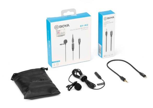 Петличный микрофон для iPhone с переходником Lightning (Boya BY-M2), фото 2