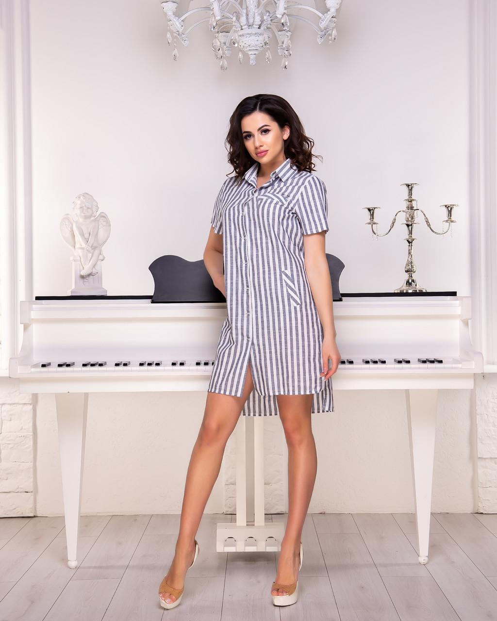 Платье-рубашка в серую  полоску  от YuLiYa Chumachenko