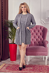 Женский комплект комбинированный  (кардиган + платье) ботал серого цвета