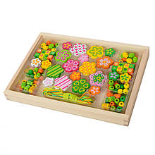 Деревянная игрушка Шнуровка MD 2032 ( 2032-3 Цветок бусы)