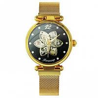 Женские МЕХАНИЧЕСКИЕ наручные часы Forsining Gold-Black Diamonds