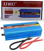 Преобразователь напряжения (инвертор) чистая синусоида UKC SP-1500A DC/AC 12В-220В, USB 5В. Повышенная надежность.