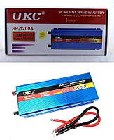 Преобразователь напряжения (инвертор) чистая синусоида UKC SP-1200Вт DC/AC 12В-220В, USB 5В. Повышенная надежность.