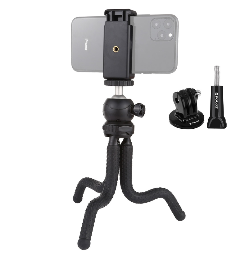 Гибкий штатив для телефона,фотокамер,экшн камер Puluz 25cm + крепление для телефона и GoPro