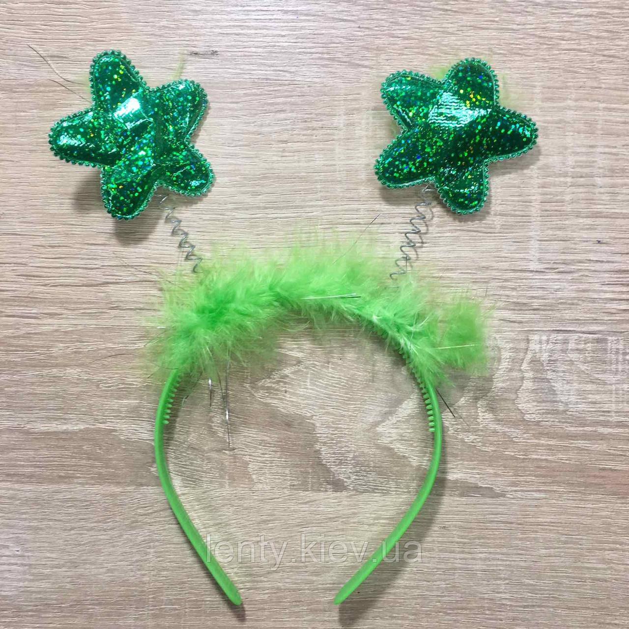 Ободок/Обруч антенки на голову звездочки  Зеленый
