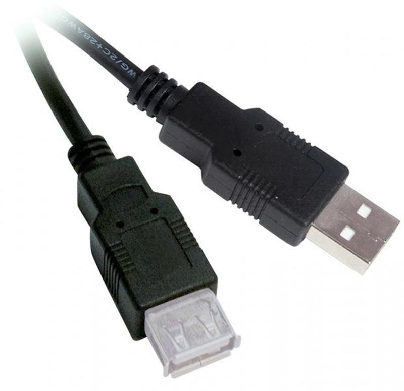 Кабель Viewcon VU015 USB2.0(AM)-USB2.0(AF), 1.8м, черный, блистер