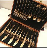 Набор столовых приборов золотого цвета в подарочной коробке из дерева, 24 предмета. Gold cutlery set.