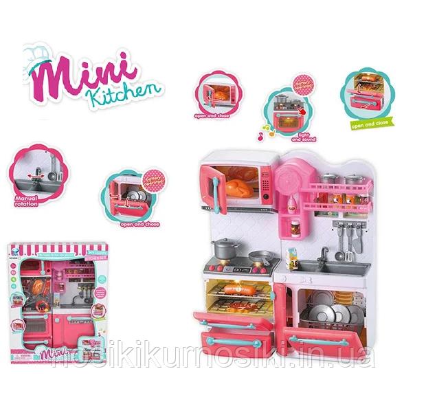 Игровой набор Детская кухня 2 секции, звук, свет, кухня для кукол типа Барби 66080-1