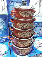 Набор эмалированных кастрюль с стеклянными крышками из 5 шт красный