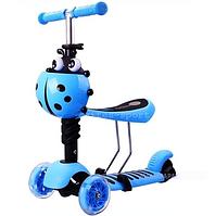 Самокат-беговел Scooter mini 3в1 (голубой) сиденье, корзинка, светящ. колёса***