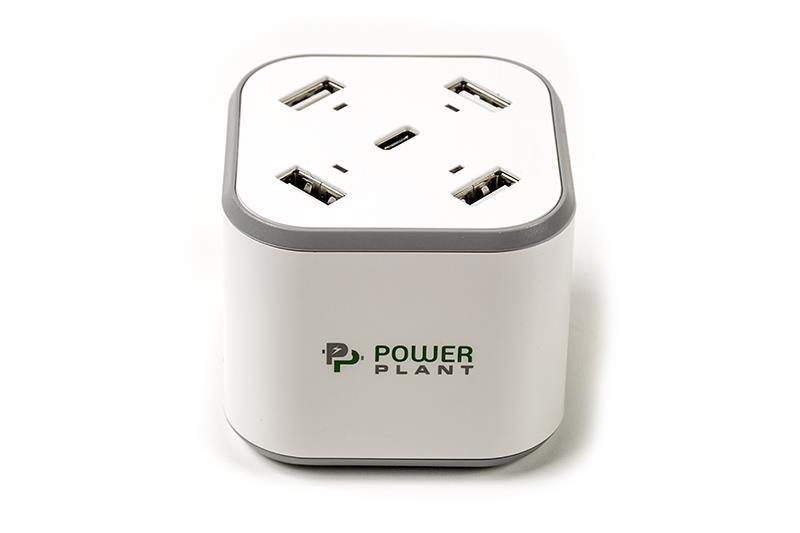 Сетевое зарядное устройство PowerPlant (4xUSB, 1xUSB Type-C, 8.4A) White (SC230112)