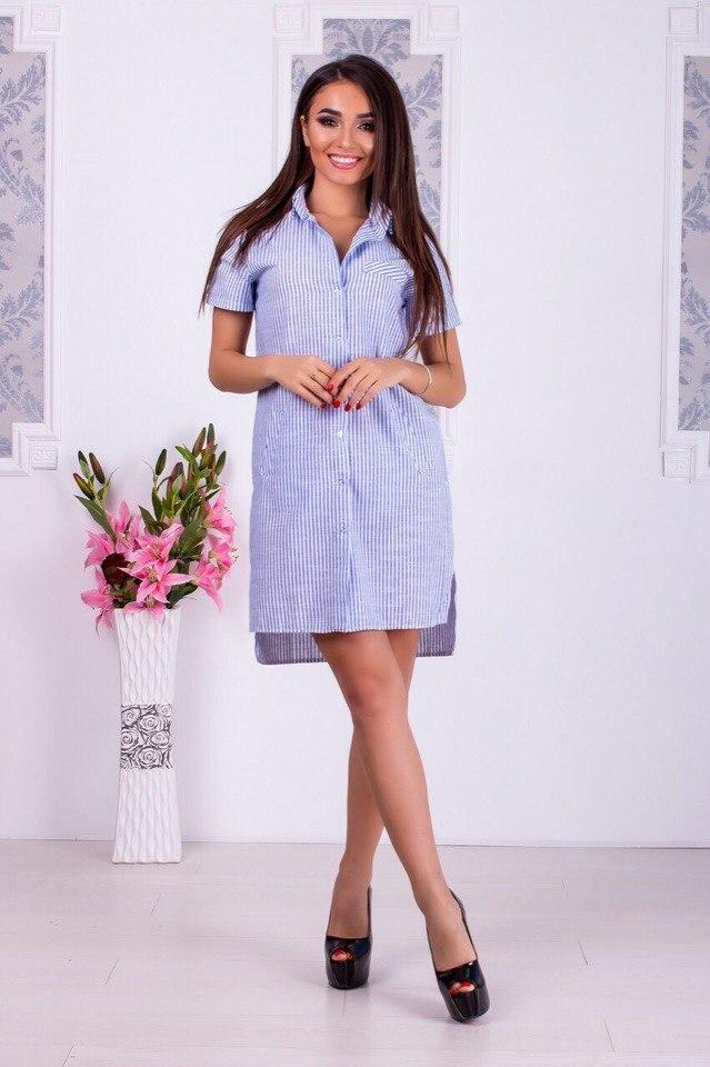 Платье-рубашка в синюю узкую полоску  от YuLiYa Chumachenko