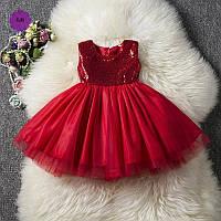 Платье для девочки с пайетками красный