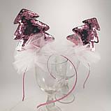 Обідок ялинкова іграшка Обруч ялинка обідок з ялинкою паетка паєтки Обідок ялинка рожева, фото 6