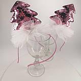 Обідок ялинкова іграшка Обруч ялинка обідок з ялинкою паетка паєтки Обідок ялинка рожева, фото 5