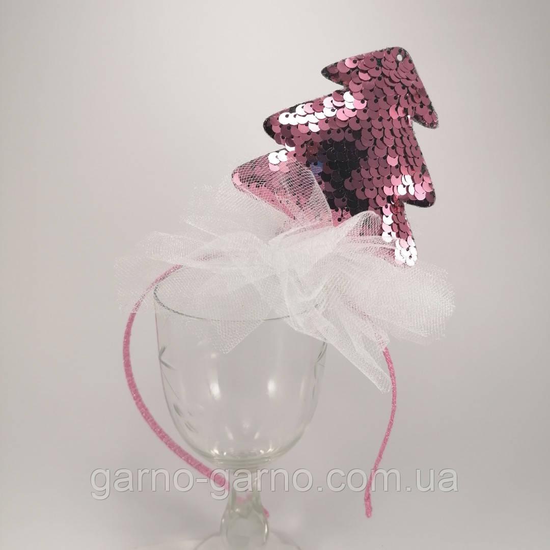 Обідок ялинкова іграшка Обруч ялинка обідок з ялинкою паетка паєтки Обідок ялинка рожева