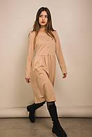 Женское трикотажное платье на каждый день светло-бежевого цвета