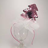 Обідок ялинкова іграшка Обруч ялинка обідок з ялинкою паетка паєтки Обідок ялинка рожева, фото 3
