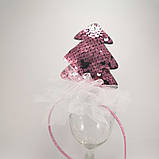 Обідок ялинкова іграшка Обруч ялинка обідок з ялинкою паетка паєтки Обідок ялинка рожева, фото 2