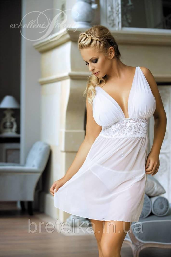 Cексуальная ночная сорочка белая Excellent Beauty D-312