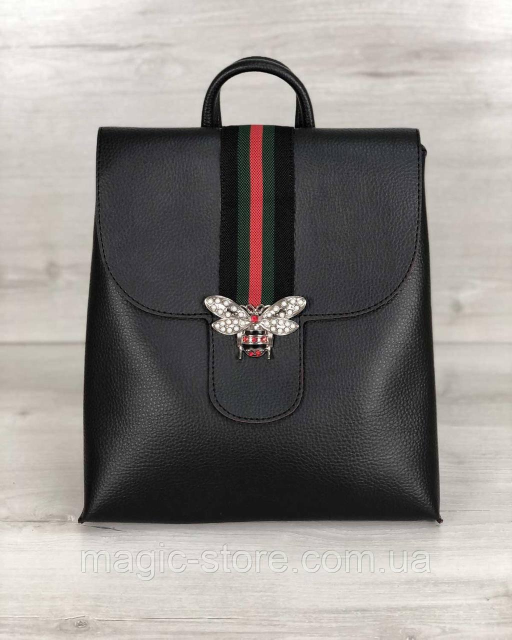 Рюкзак сумка женский Барб черного цвета (никель)