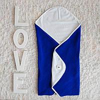 Вязаный детский конверт-одеяло с хлопковой нежной подкладкой .