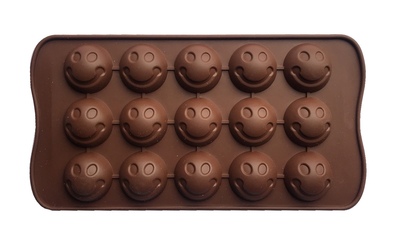 Форма силиконовая для конфет Смайлы 15 шт