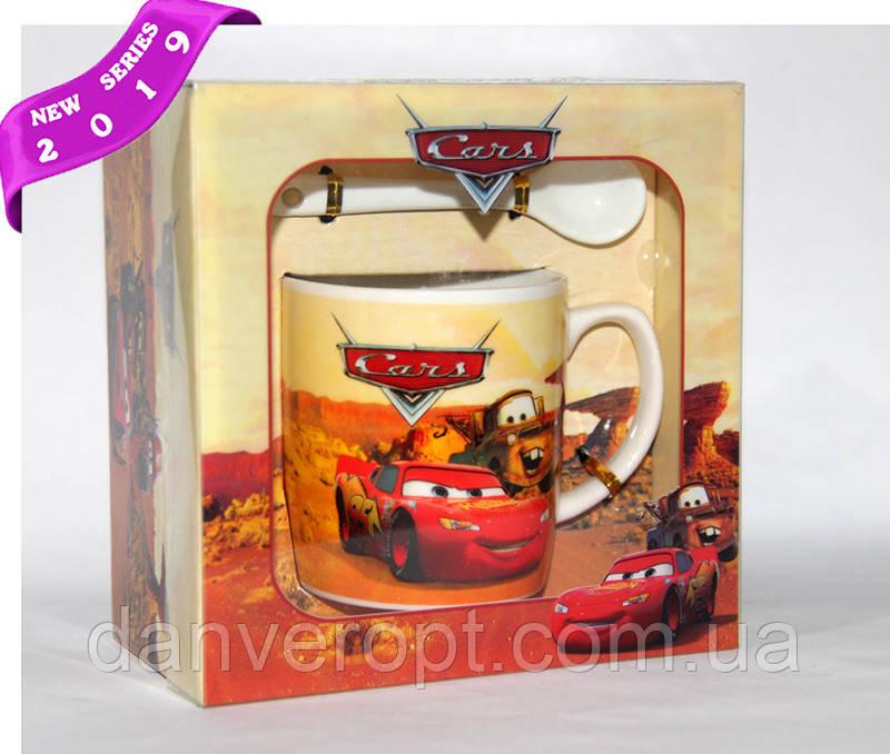 Чашка подарочная  ТАЧКИ с ложкой фарфор 300 мл , купить оптом со склада Одесса 7км