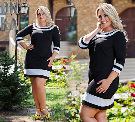Платье  БАТАЛ. Белые полосы Вставки  04/703, фото 2