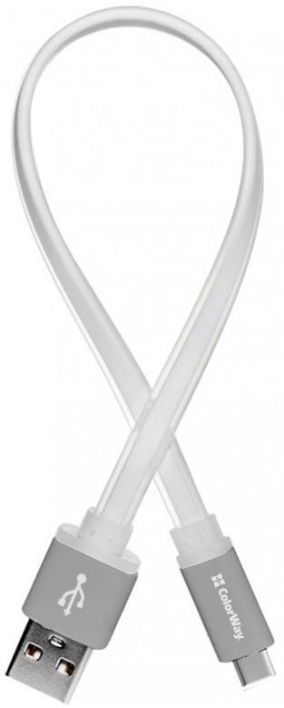 Кабель ColorWay USB-USB Type-C, 0.25 м White (CW-CBUC001-WH)