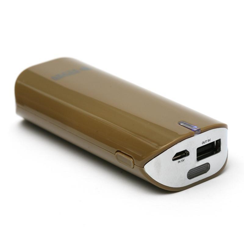 Универсальная мобильная батарея PowerPlant PB-LA9005 5200mAh Brown (PPLA9005) + универсальный кабель