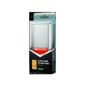 Универсальная мобильная батарея Canyon 10000mAh QC3.0 Silver (CND-TPBQC10S), фото 2