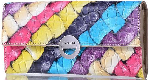Женский оригинальный кошелек из натуральной кожи WANLIMA (ВАНЛИМА) W31401750661-multicolor