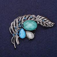 Брошь Перо Жар Птицы стразы камни цвет морская волна синий серый голубой 55х38мм серебристый металл