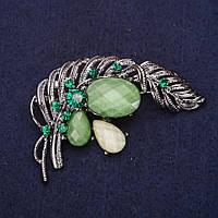 Брошь Перо Жар Птицы стразы цвет зеленый 55х38мм серебристый металл