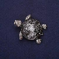 Брошь Черепаха стразы цвет серебряный 38х33мм серебристый металл
