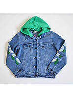 Пиджак джинсовый голубого цвета с капюшоном зеленого цвета для девочки, A-yugi