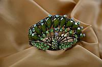 """Браслет """"Павлин"""" свадебный с зелеными камнями."""
