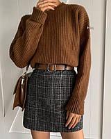 Теплая мини юбка с поясом