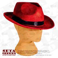 Прокат. Гангстерская красная шляпа карнавальная