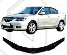 Дефлектор капота  Mazda 3 с 2003-2008 седан, Мухобойка Mazda 3