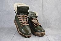 Ботинки женские CrosSav 151 зеленые (натуральная кожа, зима)ОБ