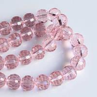 Бусины хрустальные шар 10 мм розовые (72 шт) мелк. огранка