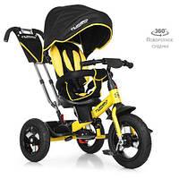 Детский трехколесный велосипед с поворотным сиденьем TURBOTRIKE M 4059-1 черно-желтый