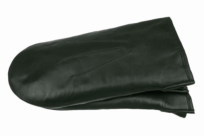 Мужские варежки из натуральной кожи модель 105 темно зеленый на подкладке из натурального меха